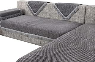 OctoRose Thick Linen Grey Anti-Slip Grip Sofa and Couch Protector, Sectional Sofa Cover, Sofa Arm Covers, with Removable and Adjustable Strap Color Grey/Black/Beige Mixed (35x35, Lin-Grey)