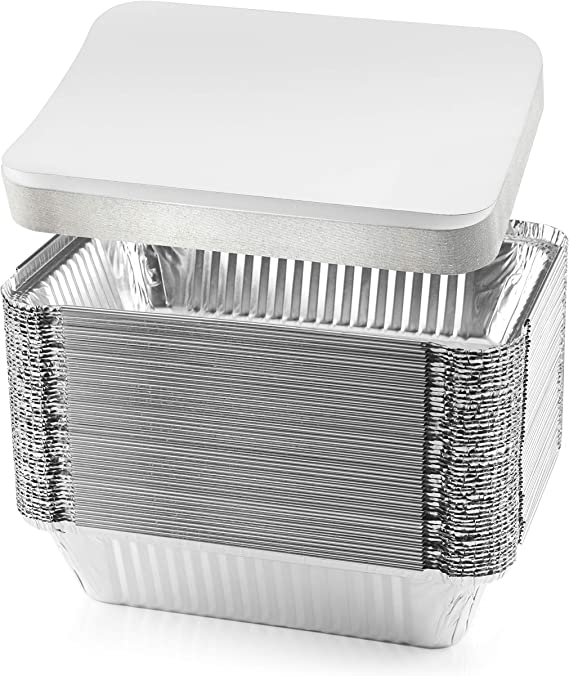 NYHI 50-Pack Heavy Duty Disposable Aluminum Oblong Foil Pans with Lid Covers Recyclable Tin Food Storage Tray Extra-Sturdy Containers for Cooking