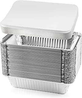 NYHI 50-Pack Heavy Duty Disposable Aluminum Oblong Foil Pans with Lid Covers Recyclable Tin Food Storage Tray Extra-Sturdy...