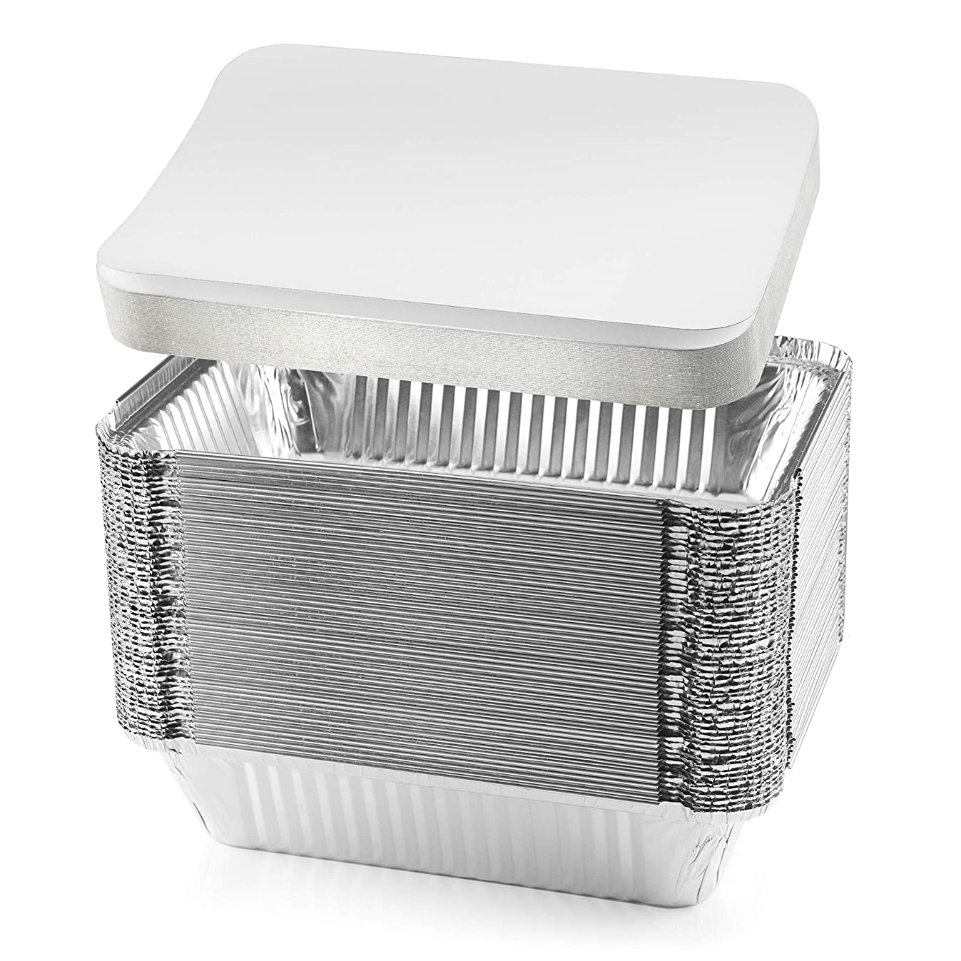 NYHI 50-Pack Heavy Duty Disposable Aluminum Oblong Foil Pans with Lid Covers Recyclable Tin Food Storage Tray Extra-Sturdy Containers for Cooking, Baking, Meal Prep, Takeout - 8.4