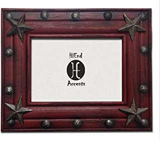HiEnd Accents Distressed Western Wood Frame with Tacks and Stars, 5 x 7, Red