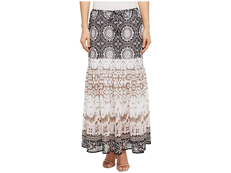 Tribal Pull-On 36 Printed Georgette Maxi Skirt with Tassel (Stone) Women