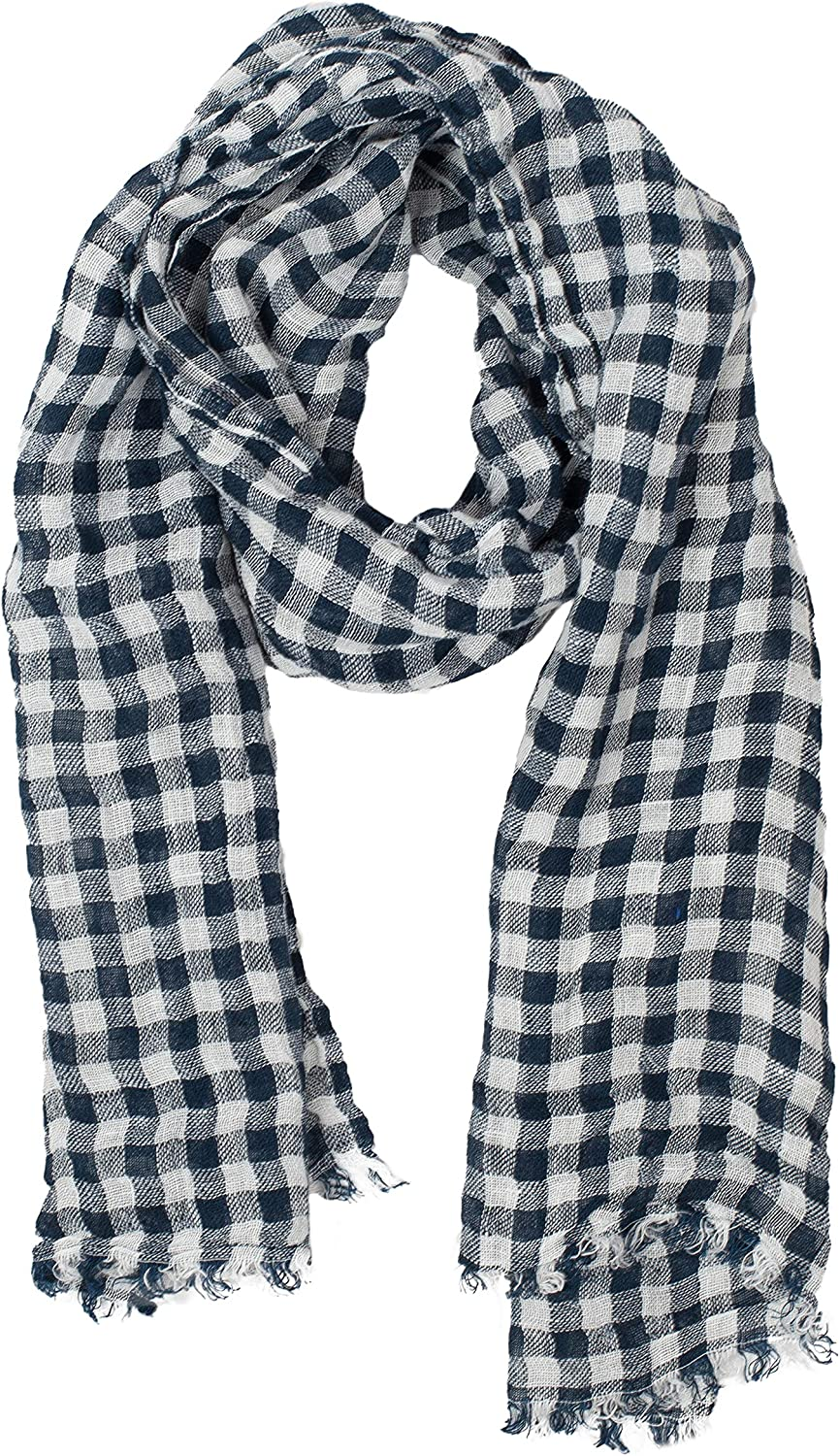 Checked Scarf   Navy bluee & White   100% Linem   Scarves For Women   Mens Scarf