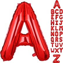 40 Inch Big Letter A Mylar Balloon Red Alphabet Foil Balloons for Birthday Party Decoration Wedding Decor Supplies Women HH Red A