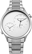 French Connection Men's Analog-Quartz Watch with Stainless-Steel Strap, Silver, 19 (Model: FC1284SM)