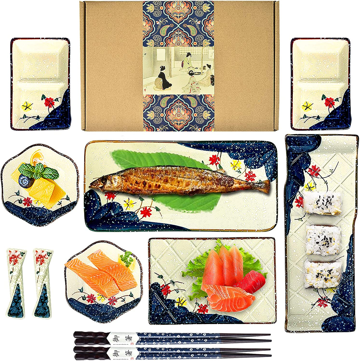 Artcome 11 Piece Japanese Style Sushi S Dinnerware Ceramic Plate Cheap Cheap mail order shopping