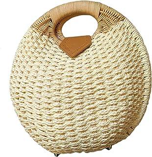 Women's Jute Round Shape Handbag Top-Handle Big Capacity Travel (Cream)