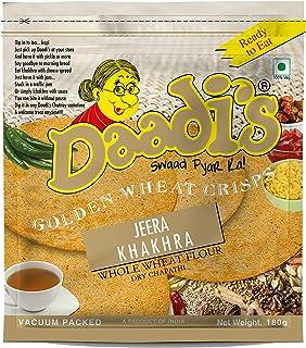 Daadi's Golden Wheat Crisps - Jeera Khakhra, 180g (Pack of 3)