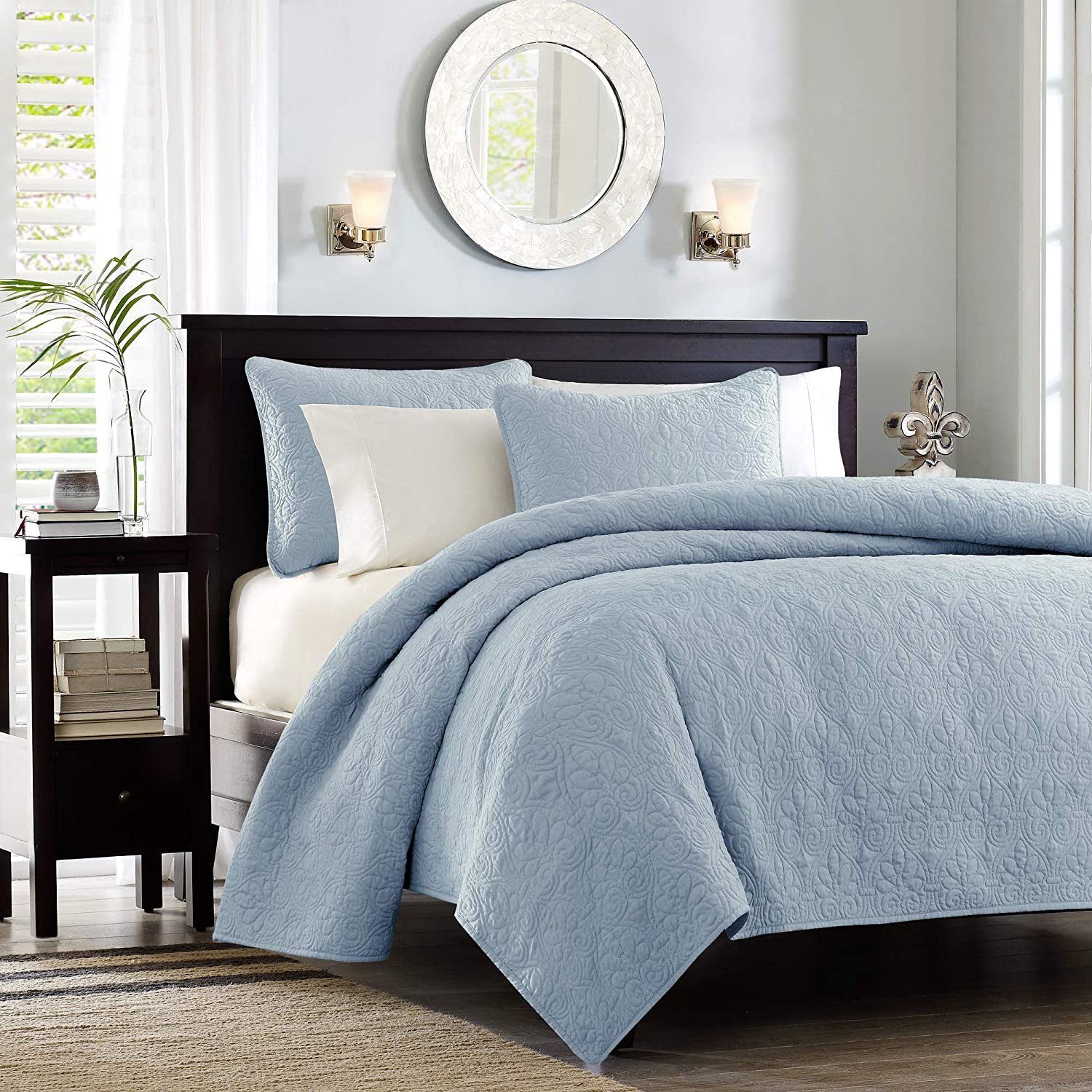Madison Park Quebec Coverlet Mini Set, bluee, Twin Twin XL,