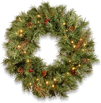 """CC Christmas Decor 30"""" Glistening Pine Wreath with Battery Operated LED Lights"""