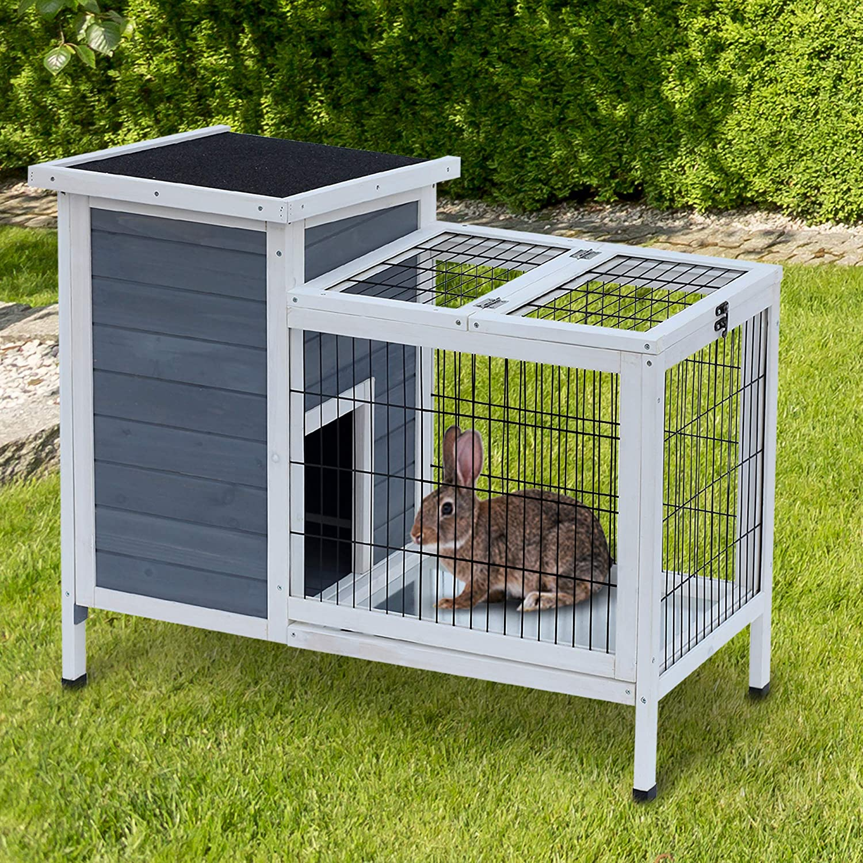 Buy PawHut 20 Raised Outdoor Weatherproof Wooden Rabbit Hutch ...