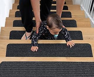BRITOR Non Slip Carpet Stair Treads, Set of 15, Rug Non Skid Runner for Grip and Beauty. Safety Slip Resistant for Kids, E...