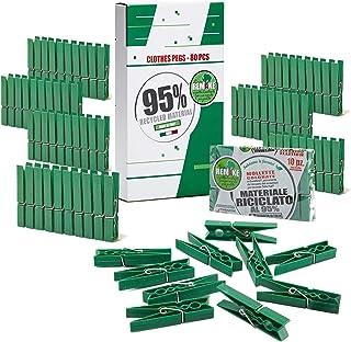 Remake 80 Piezas - Pinzas Ropa Ecológico 95% con Plastico Reciclado, Talla Grande. Molde monobloque. Fuertes y a Prueba de...