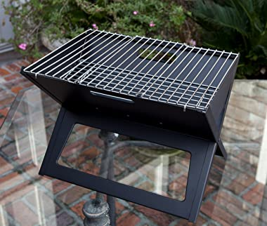 Fire Sense Black Notebook Charcoal Grill | Heavy Duty 14 Inch Steel Construction | For Outdoor Barbecues, Camping, Tailgating