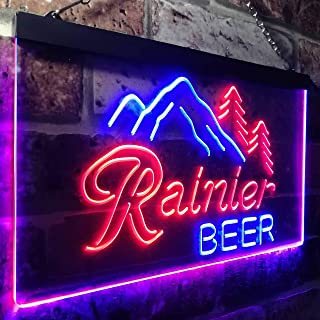 zusme Rainier Beer Club Mountain Room Décor Novelty LED Neon Sign Blue + Red W16 x H12