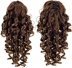SWACC 12-Inch Short Screw Curls Claw Clip Ponytail Extensions Synthetic Clip in Drawstring Curly Ponytail Hairpiece Jaw Clip Hair Extension (Light Brown-12#)