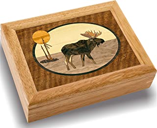Moose Wood Art Trinket Jewelry Box & Gift - Handmade USA - Unmatched Quality - Unique, No Two are The Same - Original Work of Wood Art (#2108 The Moose 6x8x2)