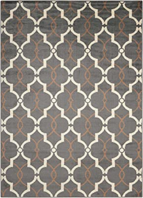 """Nourison Nova Grey Rectangle Area Rug, 5-Feet 3-Inches by 7-Feet 3-Inches (5'3"""" x 7'3"""")"""