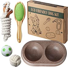 Eco Kit Eco Friendly Dog Puppy Pet Starter Set, Includes Handcrafted Bamboo Brush, Braided Cotton Rope Leash, Plant Fiber Double Dog Bowl, Cotton Rope Ball, Natural Rubber Ball | All Natural Materials
