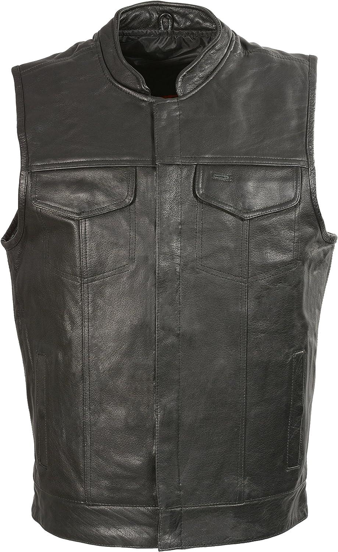 Club Vest Men's Collarless Denim with Hidden Zipper (Black, XX- Large), 1 Pack