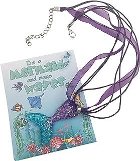 justBe 12 Stück Meerjungfrau Halskette Party Geschenke für Mädchen Individuelle Packung Glitzernde Anhänger Handarbeit