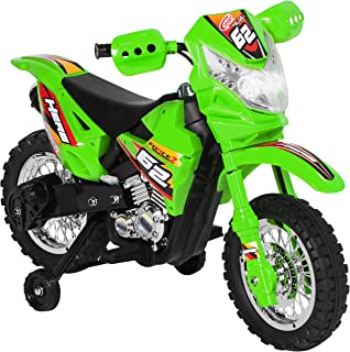 Best Choice Products 6V Kids Electric Battery-Powered Ride-On Motorcycle Dirt Bike Toy w/ 2mph Max Speed, Training Wheels, Lights, Music, Charger - Green