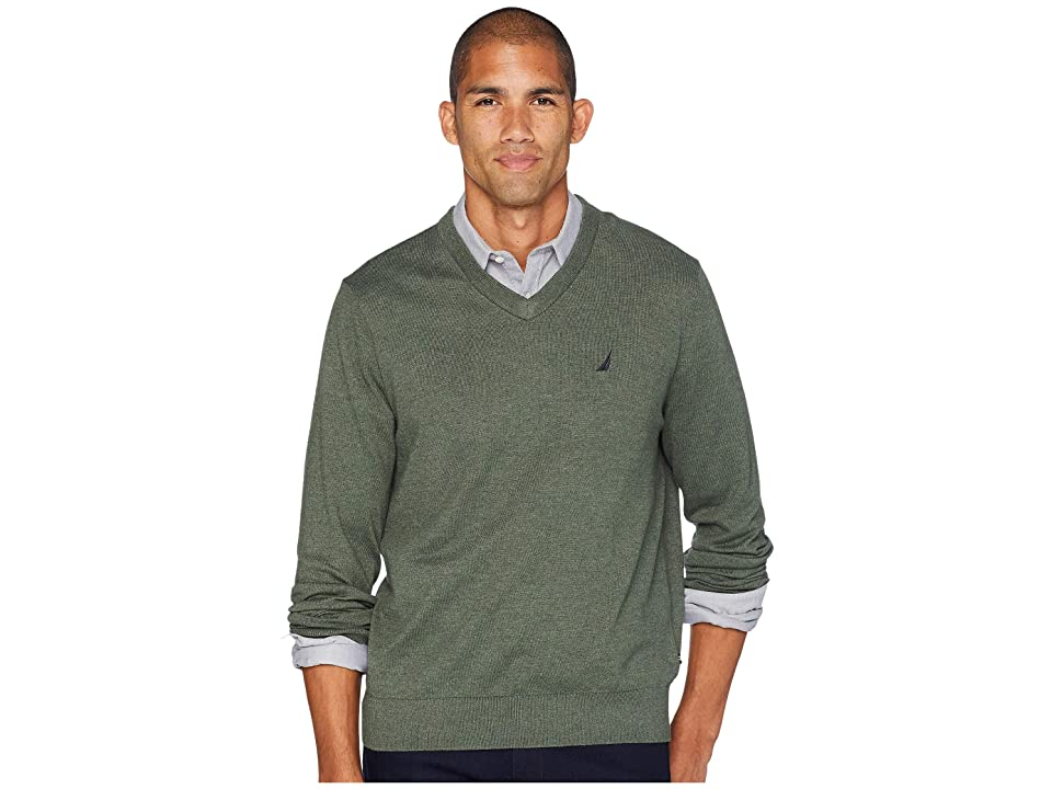 Nautica 12 Gauge Jersey V-Neck Sweater (Pine Forest Heather) Men
