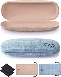 2 Pieces Hard Shell Glasses Case Eyeglasses Case Linen Fabric Case for Eyeglasses and Sunglasses with Glasses Pouch