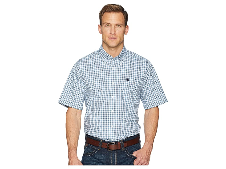 Cinch Short Sleeve Plain Weave Plaid (White) Men