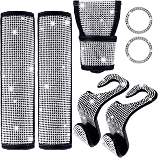 Frienda 7 Pieces Bling Car Accessories for Women, Include Bling Seat Belt Covers, Bling Shift Gear Cover, Auto Bling Key I...