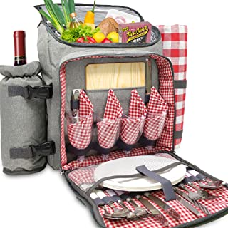 Nature Gear XL Picnic Backpack - Classic 4 Person Insulated Design - Waterproof Blanket and Full Cutlery Set (4 Person)