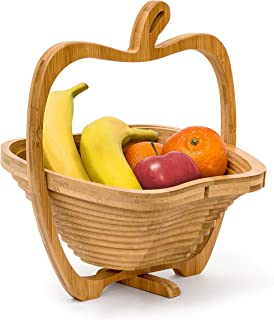 Relaxdays Foldable Apple-Shaped Basket: 30 x 27 x 22.5 cm Folding Bamboo Fruit Bowl Holder Basket And Cutting Board Wooden Fruit Bowl With An Apple-Design, Natural Brown