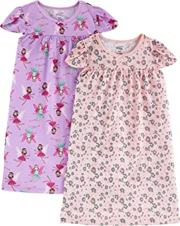 Image of Simple Joys 2 Pack Animal Print and Fairy Nightgown for Toddler Girls & Girls