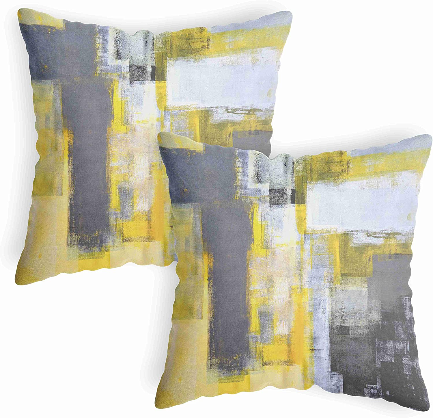 Sale special price LucaSng Abstract At the price of surprise Yellow Throw Pillow Pill Gray Covers Decorative
