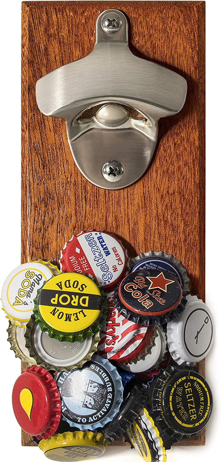 Wall Mounted Large-scale sale Beer Bottle Opener Charlotte Mall Nove Magnetic Catcher with Cap