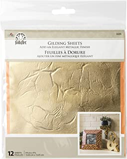 "FolkArt 36036 Gilding Sheets, Gold, 12 PC, x 5 3/8"""