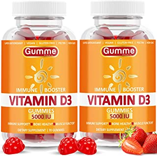 Vitamin D3 Gummies 5000 IU, 140 Count, Immune Support, Bone Health, and Joint Support, Premium Vitamin D Gummies for Men a...