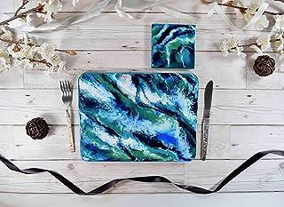 Placemats modernos con arte de resina inspirado en el océano
