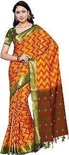 MIMOSA by Kupinda Ikkat Artificial Silk Saree Kanjivaram Style Color : Mustard (4014-2135-2D-GLD-GRN)