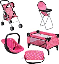 Doll Play Set 4 IN 1 Doll Set, 1 Pack N Play. 2 Doll Stroller 3.Doll High Chair. 4.Infant Seat, Fits Up to 18'' Doll