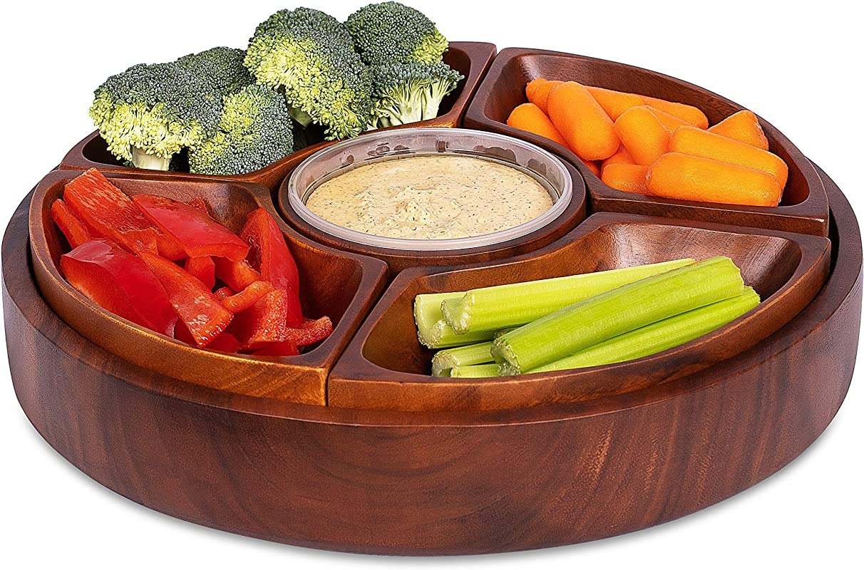 BirdRock Home Chip And Dip Severing Bowl Set 6 Section Detachable Acacia Wood Platter And Tray Great For Veggies Cheese Dip Salsa And Hummus Parities And Events Serveware Set