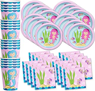 Mermaids Under the Sea Birthday Party Supplies Set Plates Napkins Cups Tableware Kit for 16 by Birthday Galore