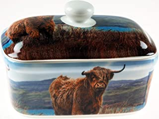 Highland Cow Fine China Ceramic Butter Dish with Bell Top