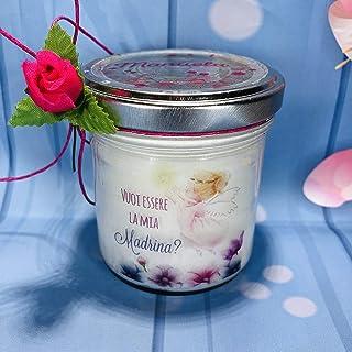 Vuoi essere la mia madrina? Vasetto con candela personalizzata in cera di soia per battesimo o cresima regalo alla madrina...