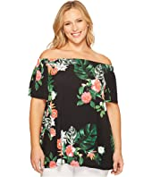 Vince Camuto Specialty Size - Plus Size Short Sleeve Havana Tropical Off Shoulder Top