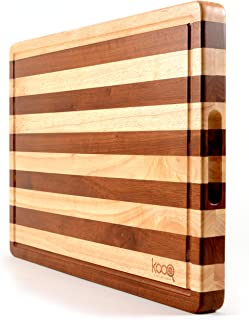"""PREMIUM - The Most Beautiful Two-Tones Chopping Block and Cutting Board! Unique Butcher's Block (Extra Large - 19.5"""" by 14"""" and 1.5"""" thick) - Luxury Cheese Board too."""