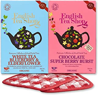 English Tea Shop 2 Pack Bundle Chocolate Super Berry Burst Super Tea & White Tea Blueberry & Elderflower with Set of Basically British Tea Coasters