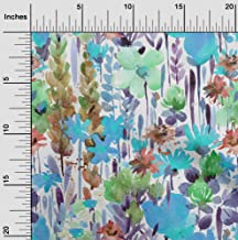 oneOone Cotton Cambric Aqua Blue Fabric Leaves & Floral Watercolor Sewing Craft Projects Fabric Prints by Yard 42 Inch Wide