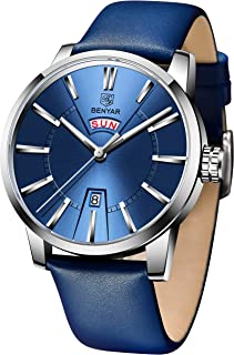 BENYAR Brown Leather Analog Waterproof and Resistant Casual Wrist Men Watch with Date