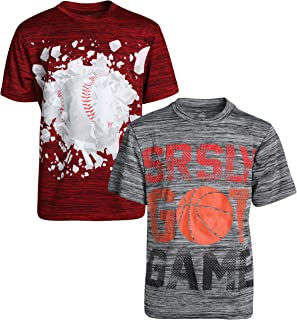 Boys Quick Dry Breathable Performance Active Graphic T-Shirts (2-Pack)